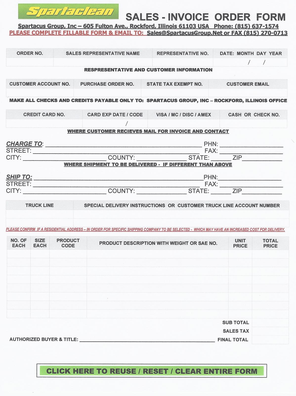 spartamax products spartacus sales order form